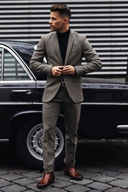 Business Casual Men's Outfits Grey Suit #businnescasual #manoutfit