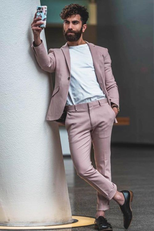 Business Casual Men's Outfits Nude Suit #businnescasual #manoutfit