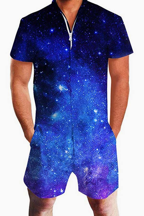 Mens Rompers Zipper Galaxy Universe Space Printed Jumpsuit (Raisevern) #romphim #maleromper