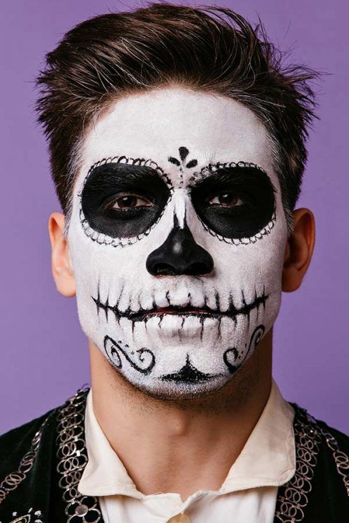 Day Of The Dead Person #dayofthedead #halloween #halloweenmakeup #halloweenmakeupmen