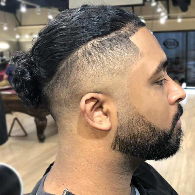 Thick Buzzed Beard With Man-Bun #fadedbeard #beardfade